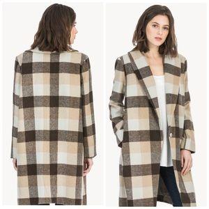 Lilla P-  Plaid Outerwear Shawl Collar Coat